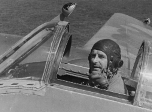 Harald Penrose - Harald Penrose in the Welkin cockpit. Note the automatically inflating peripheral hood seal
