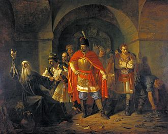 Patriarch Hermogenes of Moscow - Patriarch Hermogenes refusing to bless the Poles painting by Pavel Chistyakov (1860).