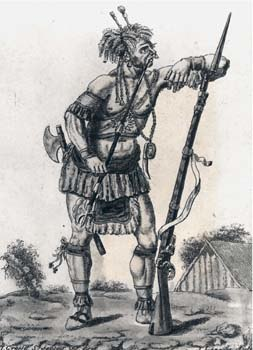 Iroquois Warrior with musket 1730