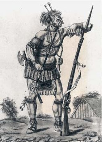 Military history of Canada - An Iroquois warrior with a European musket c. 1730