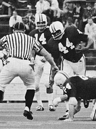 West Virginia Mountaineers football - Jim Braxton (No. 44), WVU fullback (1968–70) and 1970 First-Team All-American.