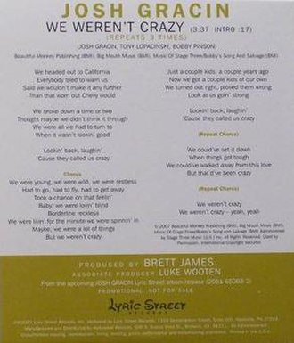 We Weren't Crazy (song) - Image: Joshgracin 414079