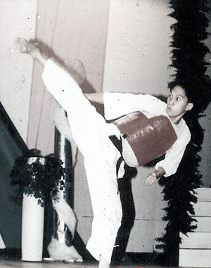 Kumite - A karateka wearing a chest protector