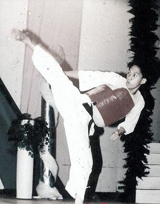 Kumite - A karateka wearing a chest protector