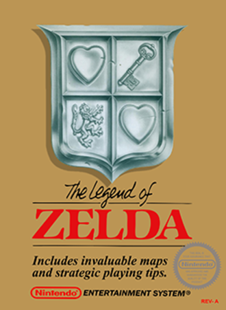 The Legend of Zelda (video game) - North American box art, including a cutout in the upper-left corner with a visible gold cartridge