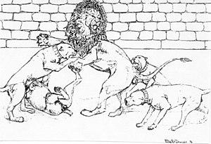 Lion-baiting - Cane Corsos