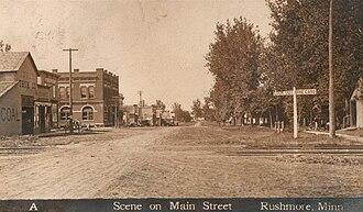Rushmore, Minnesota - Postcard showing Main Street of Rushmore, Minnesota, around 1910