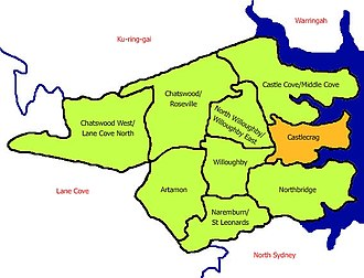 Castlecrag, New South Wales - Map of Castlecrag and surrounding suburbs