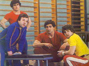 Weightlifting in Armenia - Oksen Mirzoyan (left, standing), Yurik Vardanyan (middle right) and Yurik Sarkisyan (far right) are among the best-known Armenian weightlifters of the 1970–80s