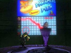 Oddworld: Abe's Oddysee - Molluck the Glukkon observing his plummeting profits