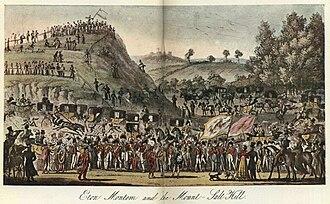 Eton Montem - Eton Montem as depicted in The English Spy, published 1825. The image greatly exaggerates the size of the Montem mound