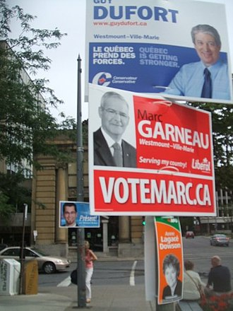 By-elections to the 39th Canadian Parliament - Conservative, Liberal, NDP, and BQ signs in the Westmount—Ville-Marie by-election.
