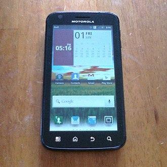 Motorola Atrix 4G - The Motorola Atrix 4G, with capacitive buttons across the bottom