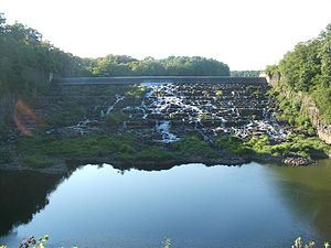 Tohickon Creek - Tohickon Creek flowing out of the dam forming Lake Nockamixon.