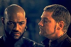 Laurence Fishburne and Kenneth Branagh as Othello and Iago, respectively.