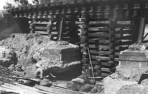 Box crib - hardwood railway sleepers used as a box crib. North Australian Railway 1975