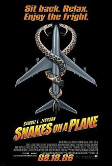 "Text at the center of the image says ""Snakes on a Plane"". Behind it is an overhead view of a jet passenger airplane with two snakes coiled around it. Towards the cockpit of the image the snakes' heads face each other with their mouths open and fangs and teeth shown, the background is all black."