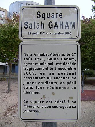 2005 French riots - Commemorative plaque of Salah Gaham