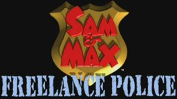 "The words ""SAM & MAX"" rest on top of a generic police badge, with the words ""FREELANCE POLICE"" written in a blue typewriter font below."