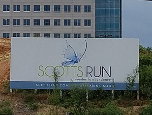 Scotts Run - Image: Scotts Run sign with MITRE 4 building in background