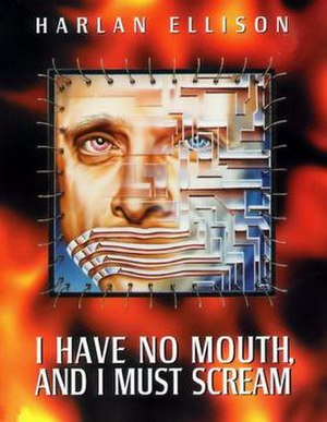 I Have No Mouth, and I Must Scream (video game) - PC version box cover, has an opening in the front to display the mousepad featuring Harlan Ellison's face inside.