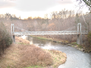 Sewells Road Bridge - Sewells Road suspension bridge on a late fall afternoon