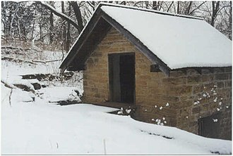 Blackacre Nature Preserve and Historic Homestead - Image: Springhouse winter