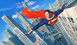 Metropolis (comics) - Superman flies over Metropolis. Art by Alex Ross.