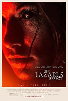 "The right side of a woman's face with full black eyeballs with scarring all around that same eye. The words ""The Lazarus Effect"" are at the bottom right in white, 5 cast members names above the title, and the tagline ""Evil Will Rise"" at the bottom middle."
