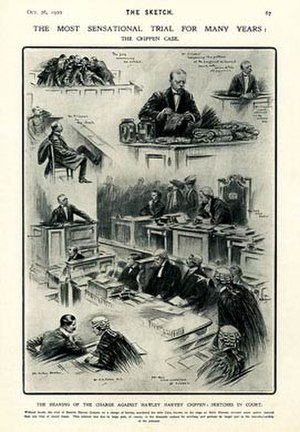 Hawley Harvey Crippen - Sketches from the trial of Dr. Crippen