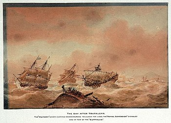 The day after Trafalgar; the 'Victory' trying to clear the land with the 'Royal Soveriegn' in tow to the 'Euryalus'.jpg