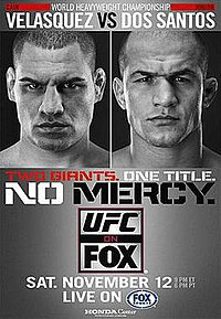 A poster or logo for UFC on Fox: Velasquez vs. dos Santos.