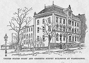U.S. National Geodetic Survey - United States Coast and Geodetic Survey headquarters on New Jersey Avenue in Washington, D.C., from Harper's Weekly, October 1888.