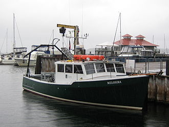 University of Vermont - UVM research vessel docked near ECHO Aquarium, in Burlington harbor along Lake Champlain.