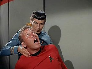 "Vulcan nerve pinch - Spock using the Vulcan nerve pinch on a redshirt; from the third-season episode ""And the Children Shall Lead"", first broadcast October 11, 1968"