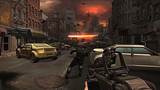 Doom (2016 video game) - A screenshot of the canceled Doom 4, which showcased a more urban environment than its predecessors.