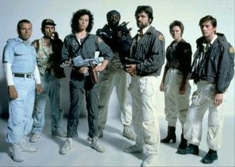 Alien (film) - The principal cast members of Alien (left to right: Holm, Stanton, Weaver, Kotto, Skerritt, Cartwright, and Hurt)
