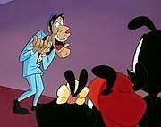 "Parodies and caricatures made up a large part of Animaniacs. The episode ""Hello Nice Warners"" introduced a Jerry Lewis caricature (left), who made frequent appearances on the series."
