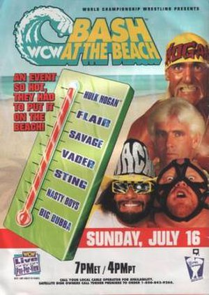 Bash at the Beach - Promotional poster featuring Hulk Hogan, Ric Flair, Randy Savage, and Vader.