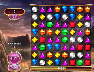 Bejeweled Blitz - A game in progress, showing no points on the board.