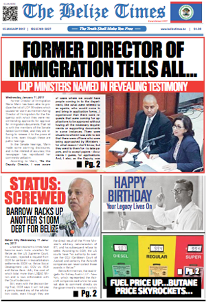 The Belize Times - Front page of the January 15, 2017 edition