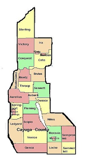 Cayuga County, New York - A map of the towns and villages in Cayuga County
