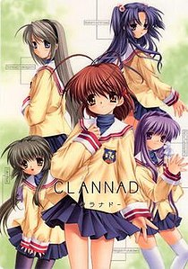 The girls of Clannad: Tomoyo (top-left), Kotomi (top-right), Fuko (bottom-left), Nagisa (center), and Kyou <br />(bottom-right).
