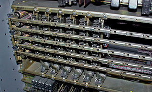 Number Five Crossbar Switching System - Revertive Pulse Incoming Register of 5XB switch.  Each vertical unit, from right to left, counts, stores and converts one selection:Incoming Group, Incoming Brush, Final Brush, Final Tens, Final Units