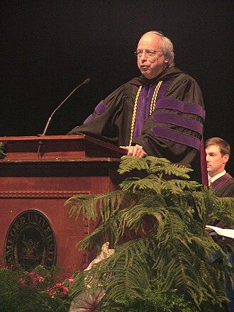 John L. Carroll - Judge John Carroll, former dean of Cumberland, gives an address at Cumberland's 2006 graduation ceremony.
