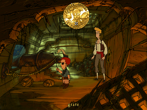 The Curse of Monkey Island - Guybrush Threepwood and Wally are standing in the first room of the game. The new verb interface is shown.