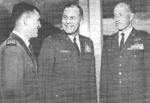 Ralph Eberhart - As Cadet Colonel (left) commanding the Cadet Wing at the United States Air Force Academy, with Colonel Robin Olds (center) and Brigadier General Louis T. Seith, 1967