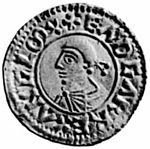 Obverse of silver 'Reform' penny of Edgar the Peaceful, c. 973-5.