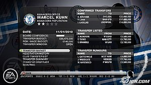 FIFA 10 - An in-game screenshot highlighting the improved transfer system in Manager Mode.