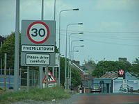 UK speed limit upon entry to village, Fivemiletown in Northern Ireland (30 mph)